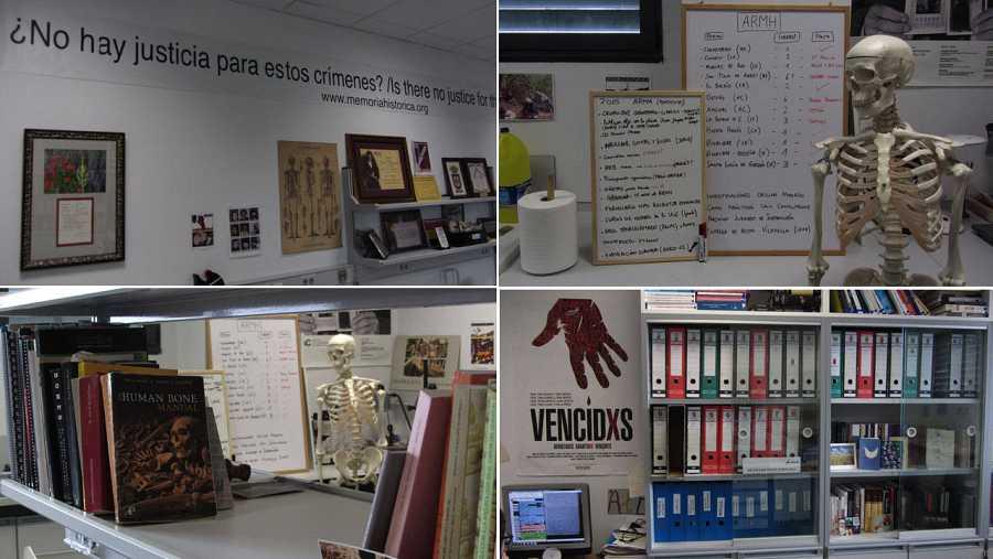 Interior del pequeño laboratorio de la Asociación de Recuperación de la Memoria Histórica en Ponferrada, León.