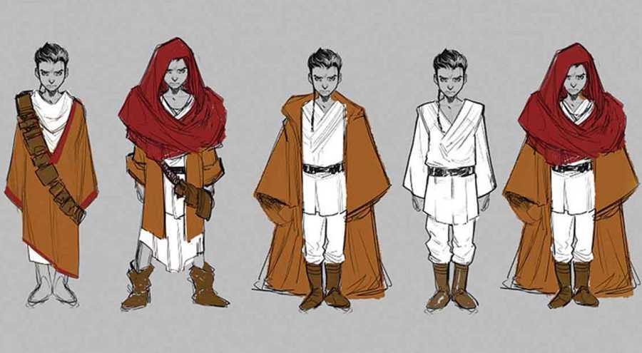 Bocetos para la versión infantil del protagonista de 'Kanan: El último Padawan'