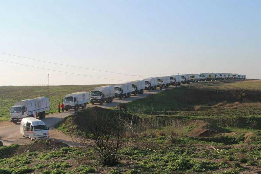 Convoy de ayuda humanitaria, preparado para partir de Damasco