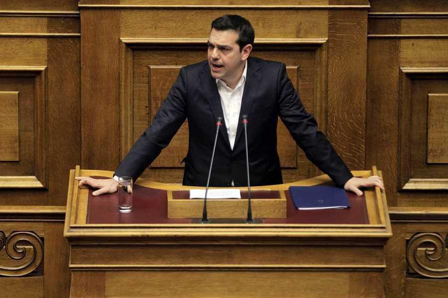 El primer ministro griego, Alexis Tsipras, en su intervención ante el Parlamento