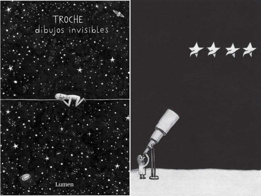 Portada y página de 'Dibujos invisibles'