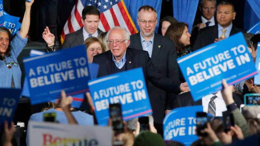 Bernie Sanders, en la celebración por su victoria en Vermont