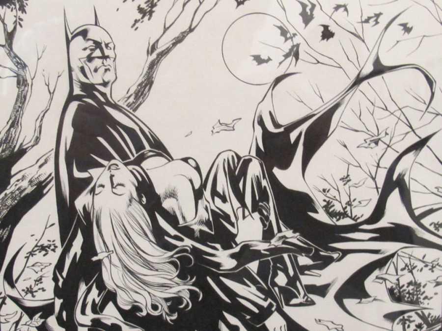 Uno de los originales de Batman que pueden verse en la exposición