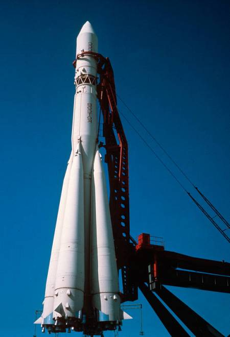 Imagen del cohete Vostok, que transportó a Yuri Gagarin.