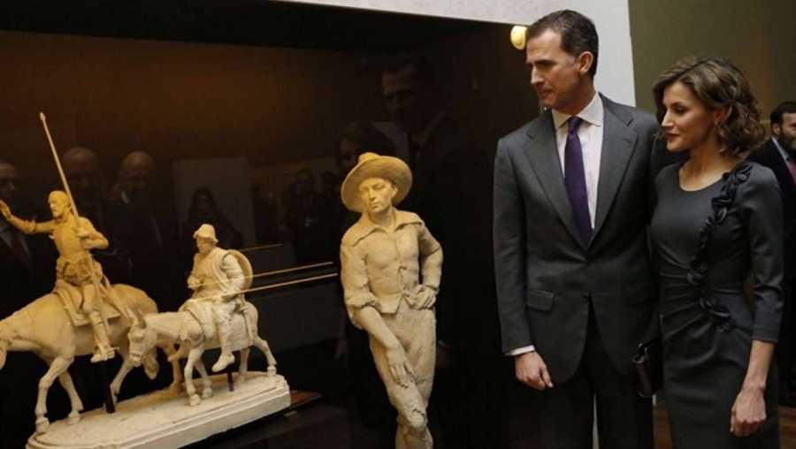 Los Reyes, en la inauguración de la exposición 'Miguel de Cervantes: de la vida al mito (1616-2016)', en la BNE