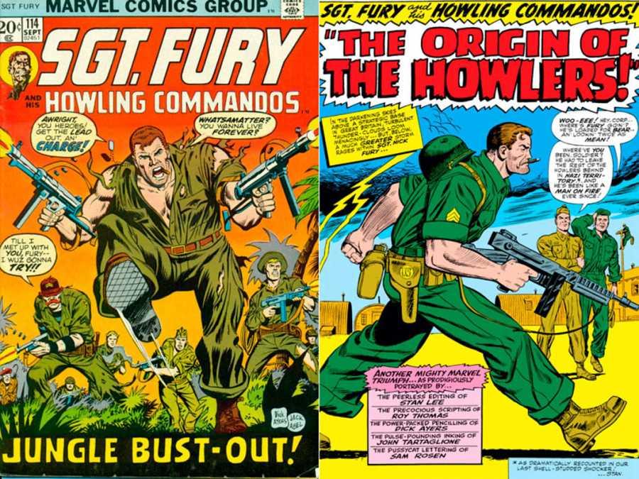 Portada y página de 'Sargento Furia y sus comandos aulladores'