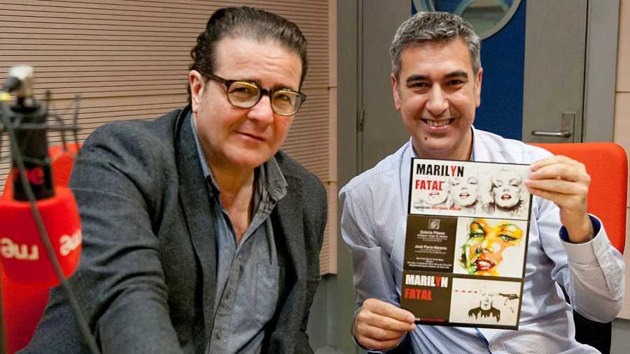 José Parra-Moreno, con Arturo Martín, en los estudios de Rne Madrid
