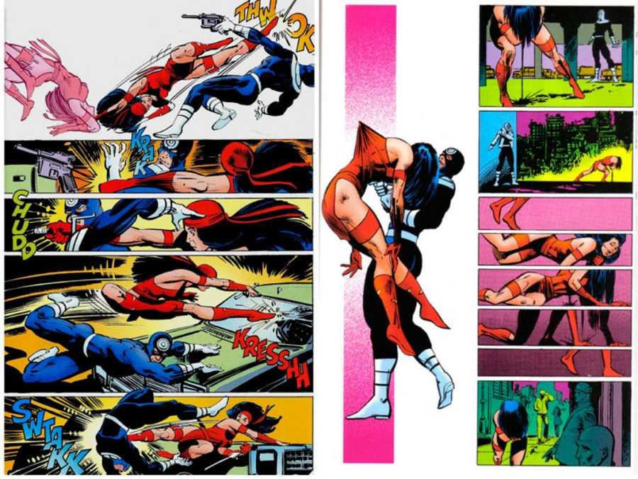 La pelea final de Elektra y Bullseye es un ejemplo perfecto de la narrativa cinematográfica de Miller