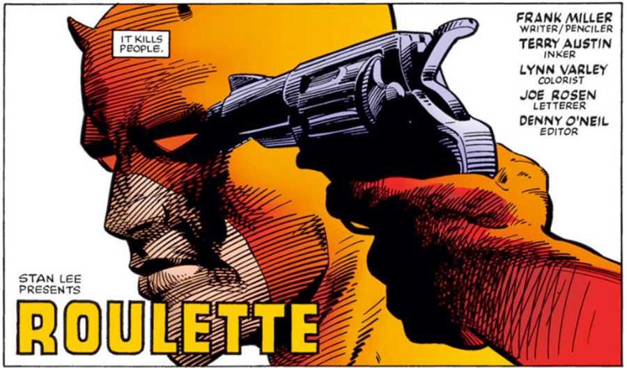 Viñeta de 'Ruleta', la última historia de la primera etapa de Miller en 'Daredevil'