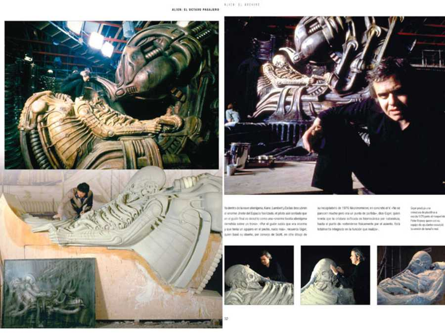 H.R.Giger trabajando en los decorados de 'Alien' (Alien TM & © Twentieth Century Fox Film Corporation)