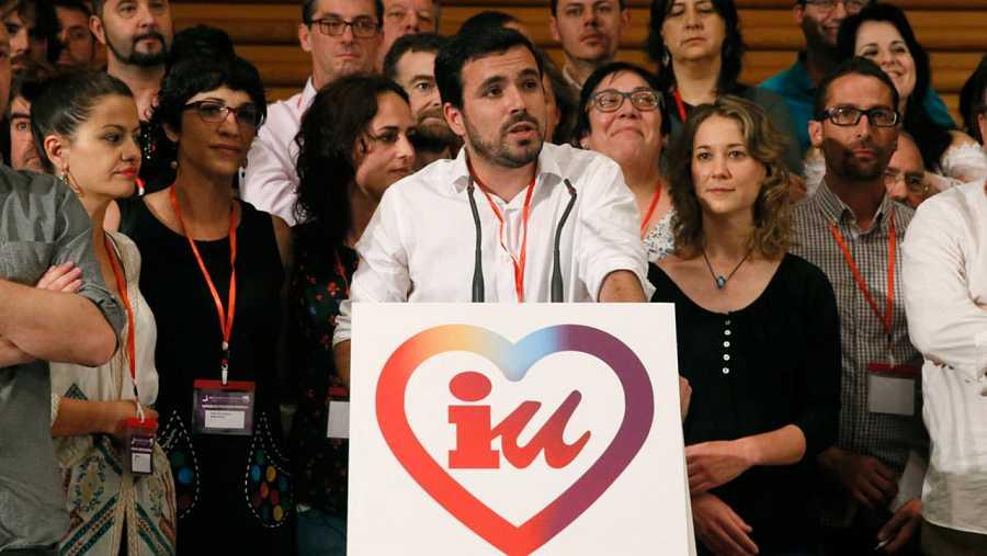 Alberto Garzón durante su intervención tras ser proclamado nuevo coordinador federal de Izquierda Unida este domingo 5 de junio