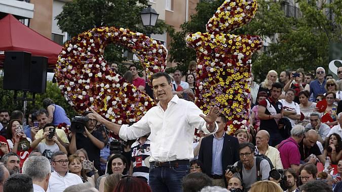 El secretario general del PSOE, Pedro Sánchez, interviene en el acto de inicio de campaña del PSOE