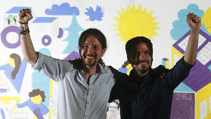 Pablo Iglesias (Podemos) y Alberto Garzón (IU), en el arranque de campaña de Unidos Podemos