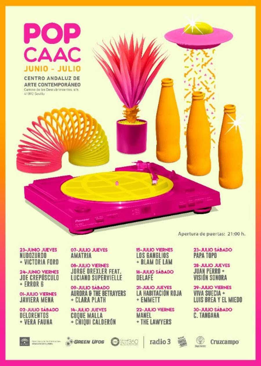 Cartel con la programación de junio y julio en Pop CAAC