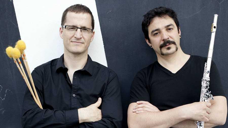 El percusionista Eloy Lurueña y el flautista Julián Elvira