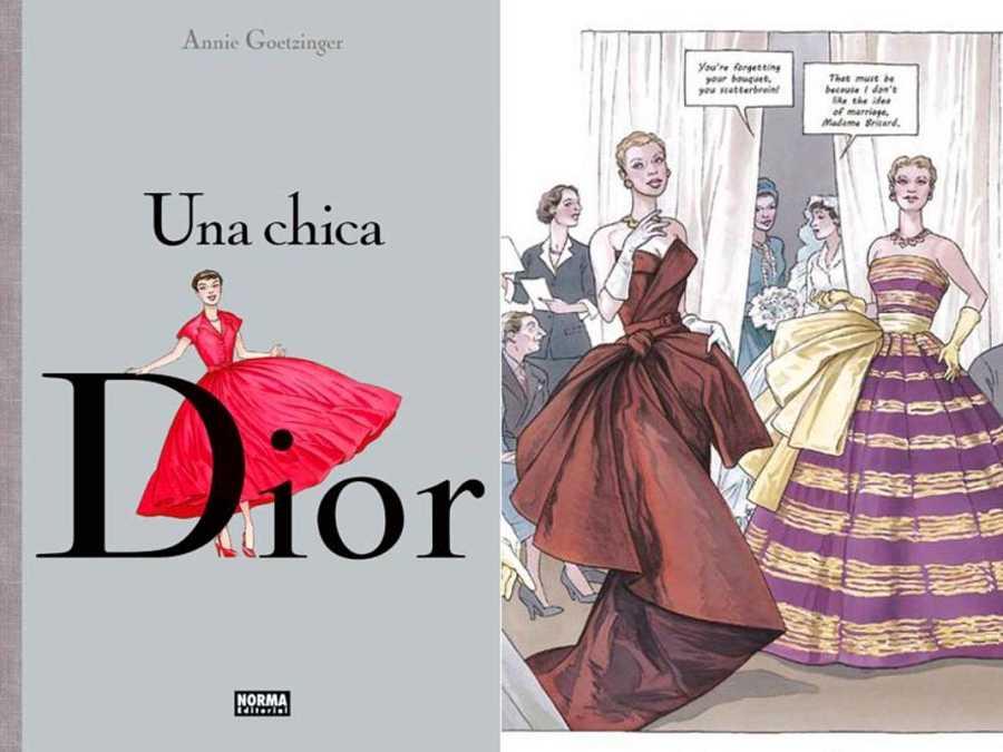 Portada y fragmento de una página de 'Una chica Dior'