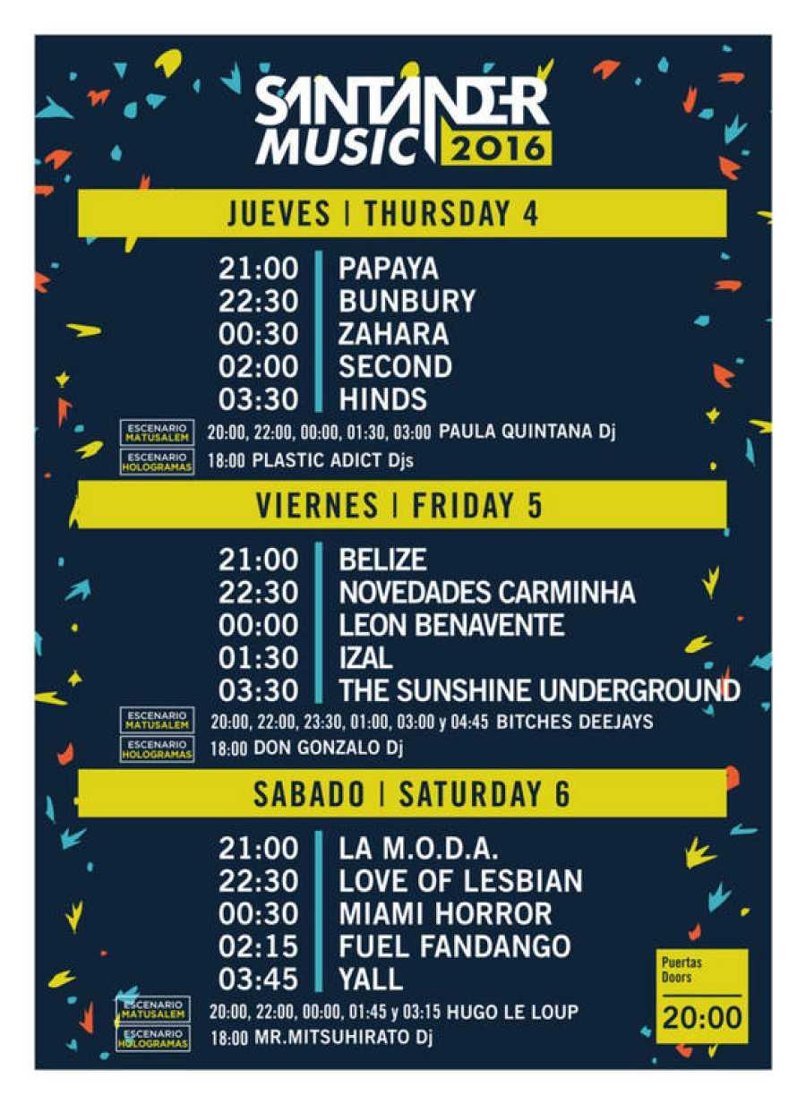 Cartel y horarios de Santander Music 2016