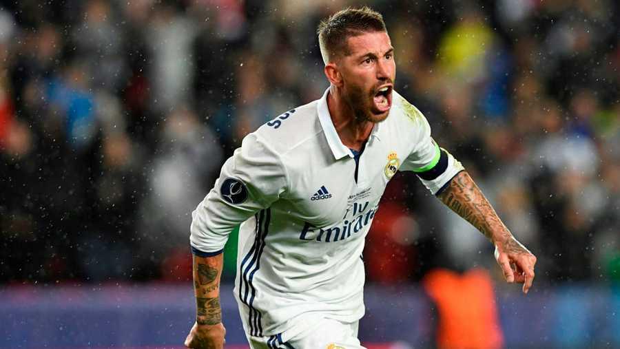 Sergio Ramos celebra el gol del empate 2-2 ante el Sevilla en la Supercopa de Europa.