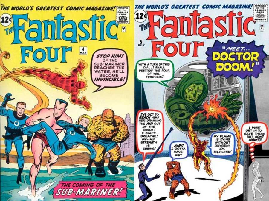 Portadas de los números 4 y 5 de 'Los Cuatro Fantásticos', con las apariciones de Namor y el Dr. Muerte