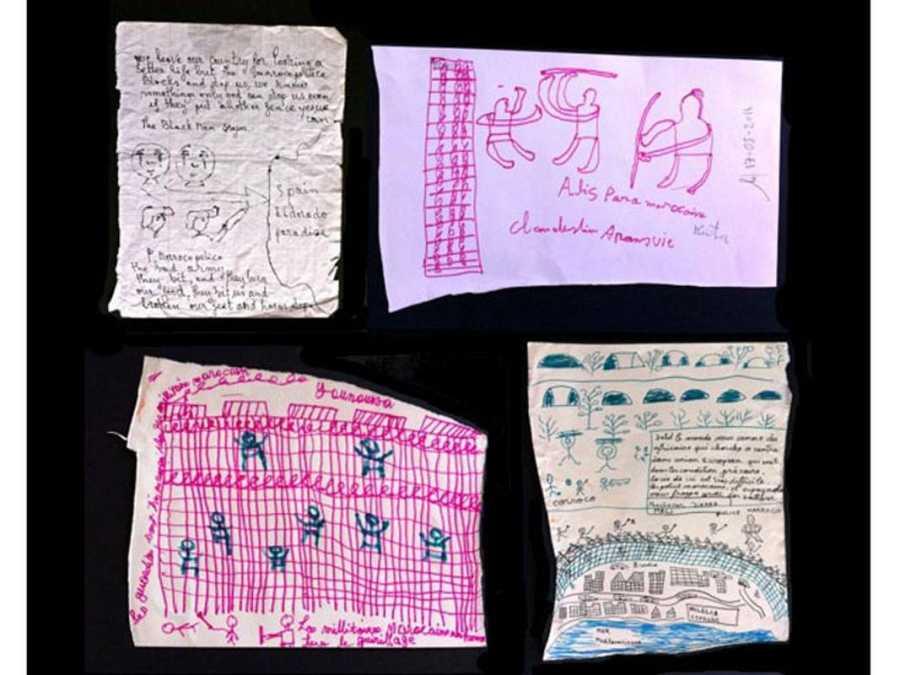 Dibujos y cartas que los subsaharianos entregaron a Amparo