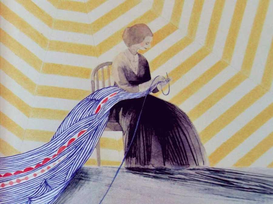 Fragmento de una ilustración de 'Nana de tela. La vida tejida de Louise Bourgeois'