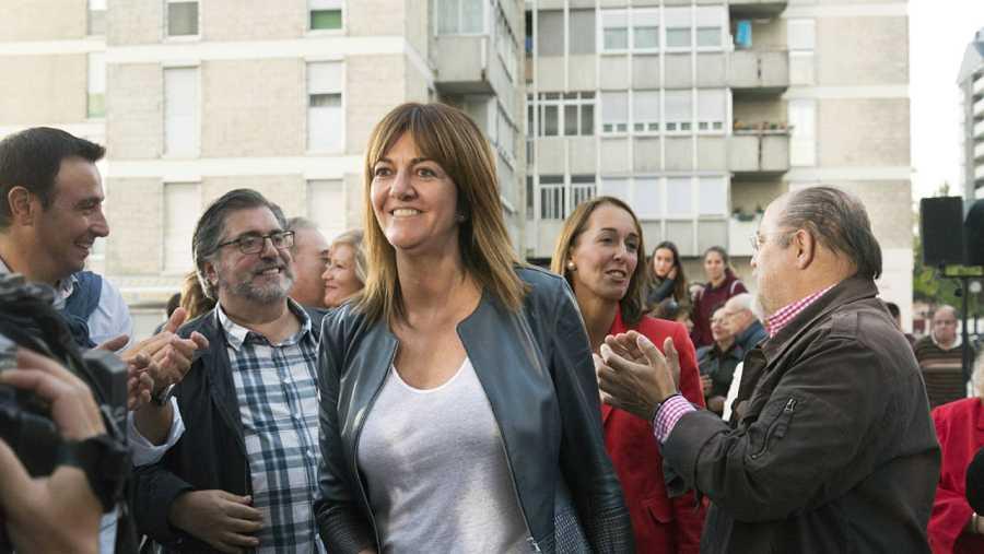 La candidata del PSE-EE a la Lehendakaritza, Idoia Mendia, en el cierre de campaña electoral vasca socialista