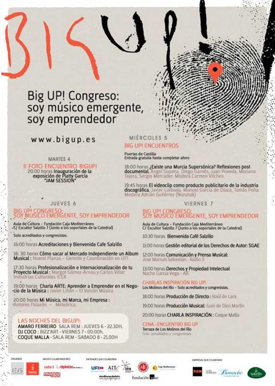 Cartel con todas las programaciones del Big Up Murcia