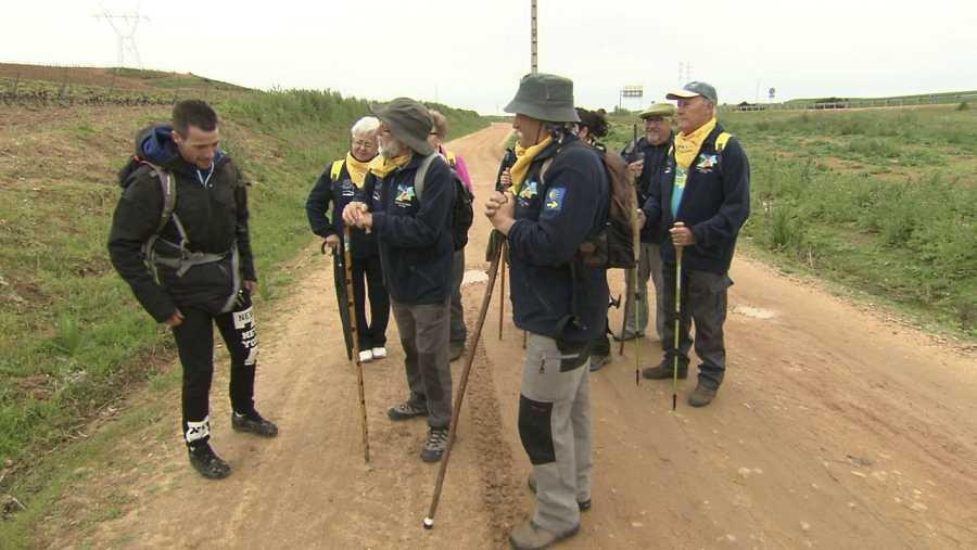 Con un grupo de peregrinos del Camino de Santiago