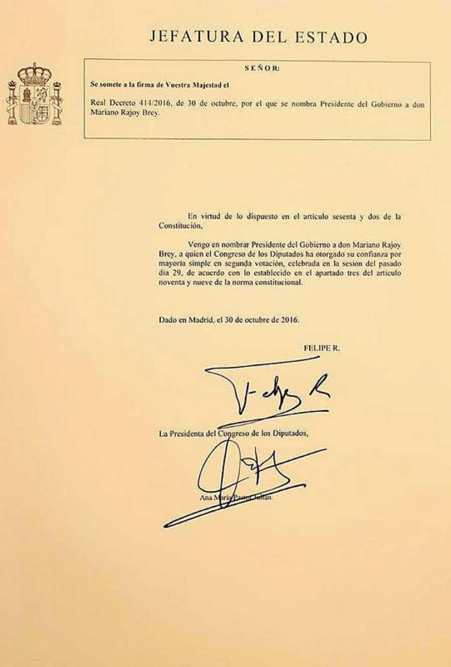 Documento del Real Decreto con el nombramiento de Mariano Rajoy