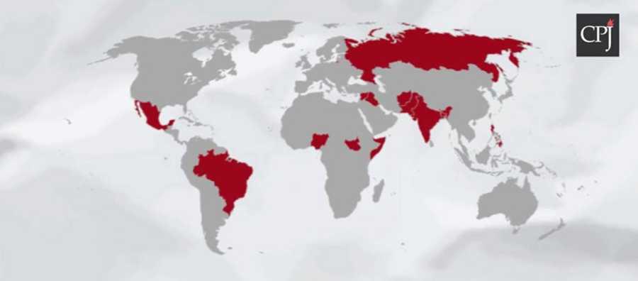 Mapa con los 13 países donde ha habido impunidad en los crímenes contra periodistas desde 2006