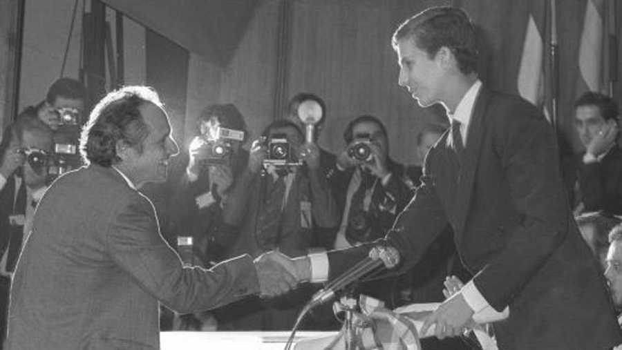 Antonio López, en la entrega del Príncipe de Asturias (1985)