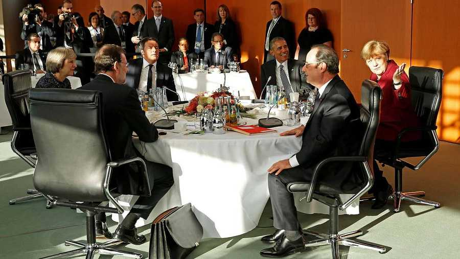 May, Rajoy, Renzi, Obama, Hollande y Merkel en la cumbre de Berlín