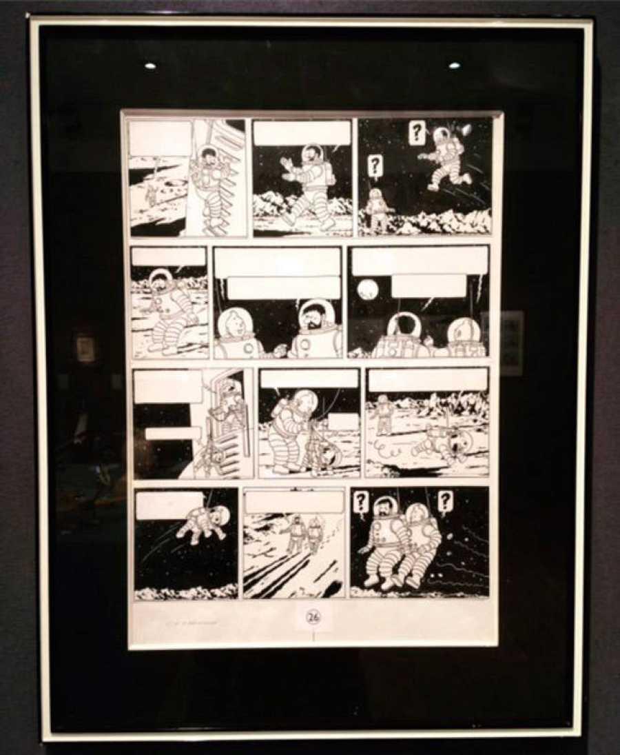Plancha original de Tintín 'Aterrizaje en la Luna', subastada en París por 1,55 millones de euros.
