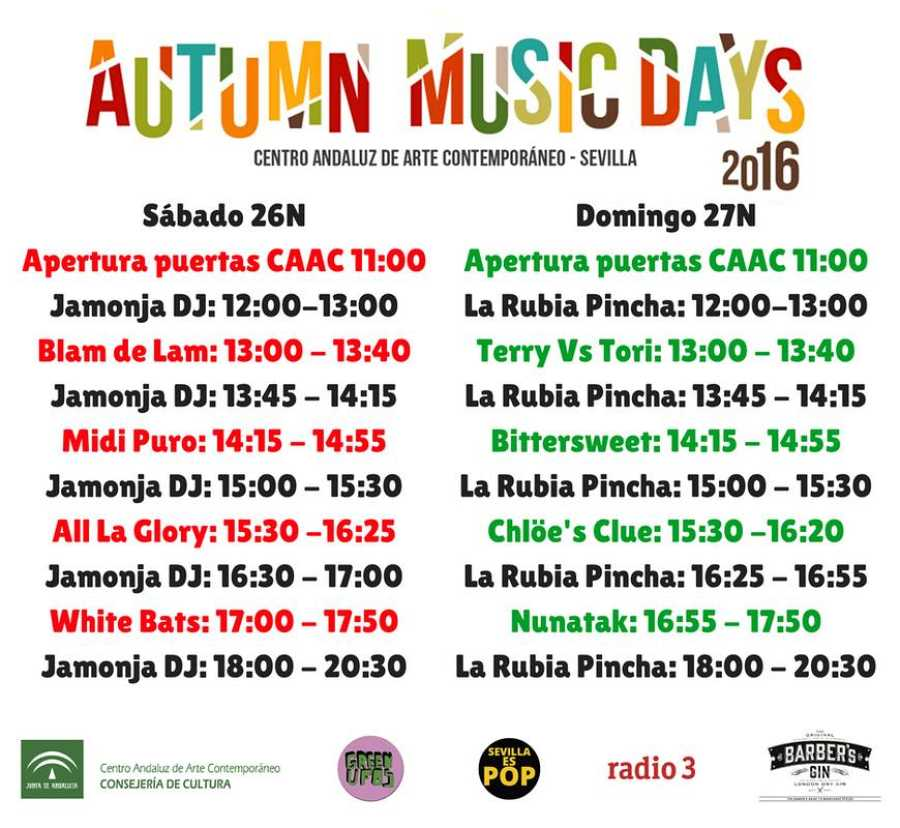 Horarios para las dos jornadas de Autumn Music Days