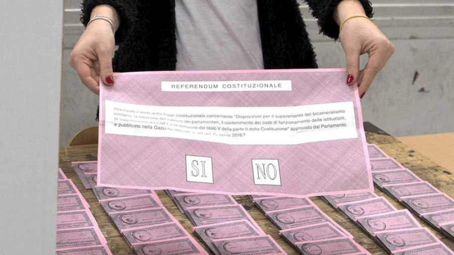 Papeleta electoral para el referéndum sobre la reforma constitucional en Italia.