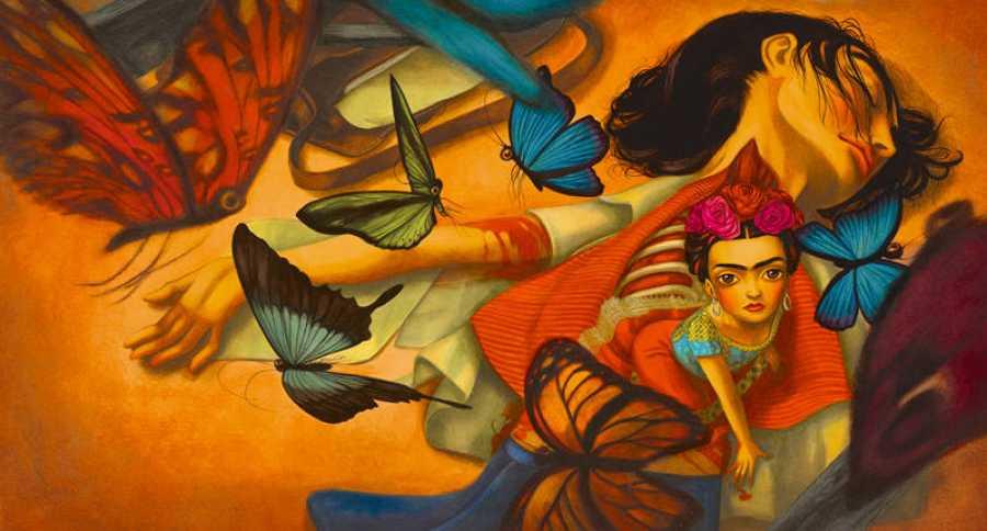 La Frida artista naciendo de los restos de la Frida niña