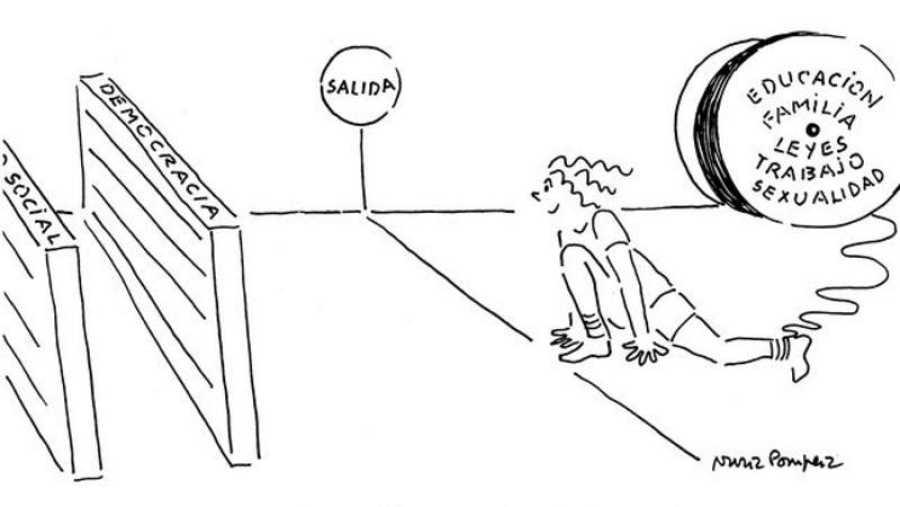 Una de las viñetas feministas de Núria Pompeia, difundida en la web de Ficómic