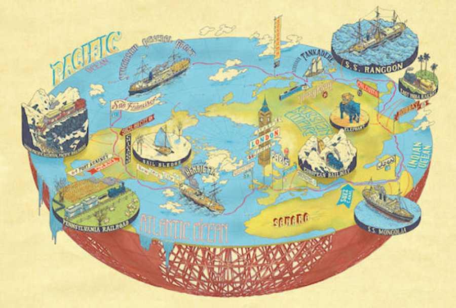 Mapa de 'La vuelta al mundo en 80 días', de Julio Verne