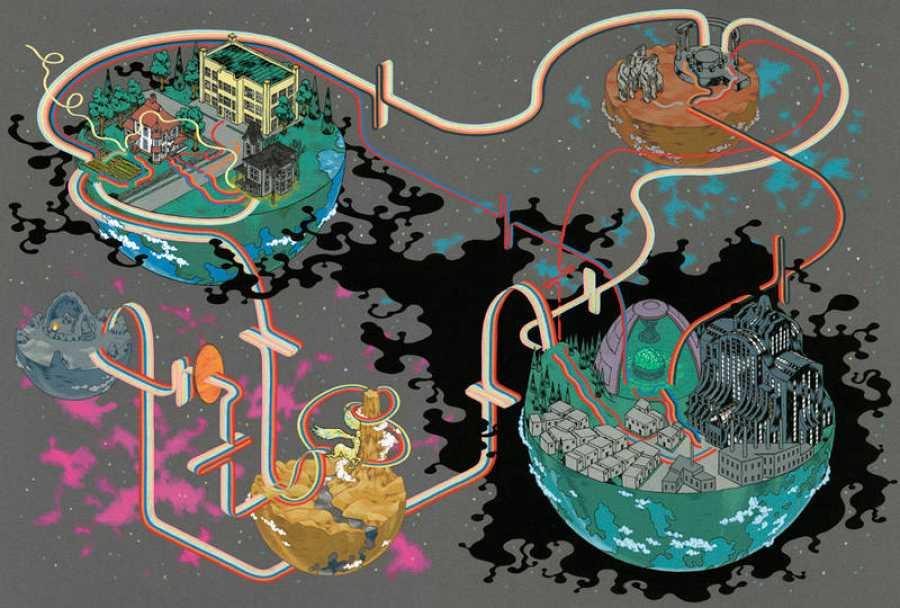 Mapa del mundo de 'Una arruga en el tiempo', de Madeleine L'Engle