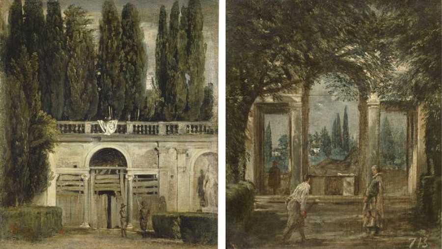 Vistas del jardín de la villa Medici en Roma
