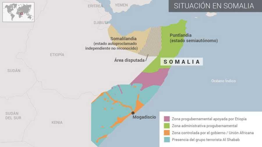 Mapa de la situación actual en Somalia