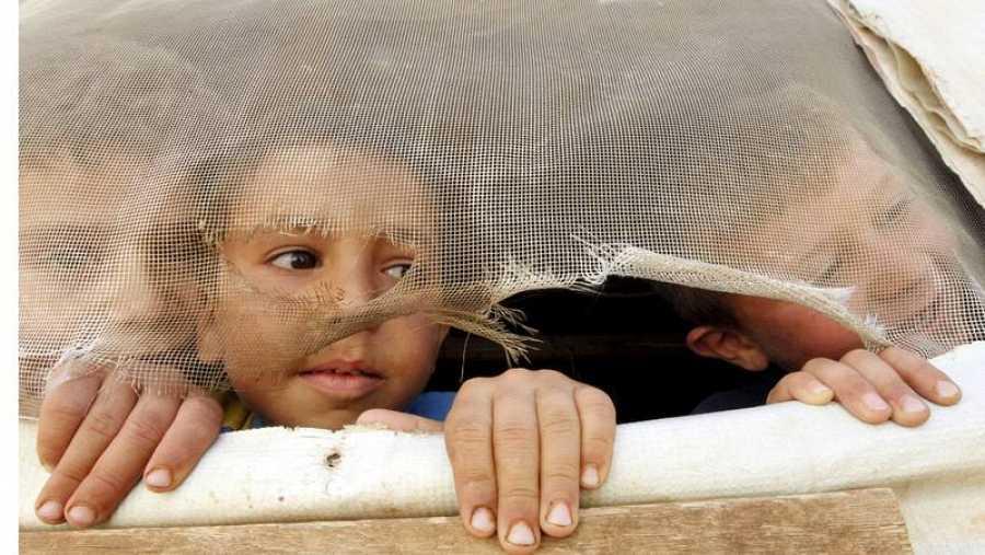 Refugiados sirios en el campo de Saadnayel, Líbano.