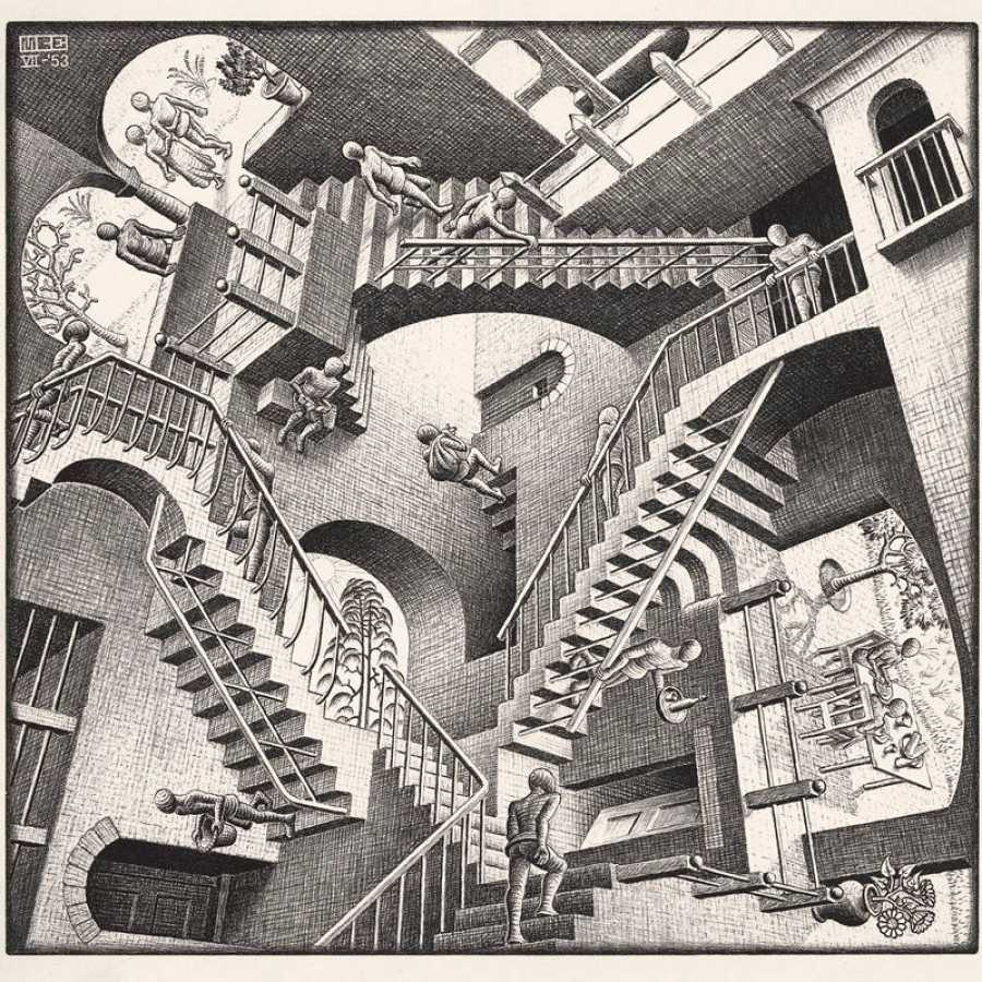 Maurits Cornelis Escher 'Relatividad' 1953 Litografía, 27,7x29,2 cm The Escher Foundation Collection All M.C. Escher works © 2017 The M.C. EscherCompany. All rights reserved