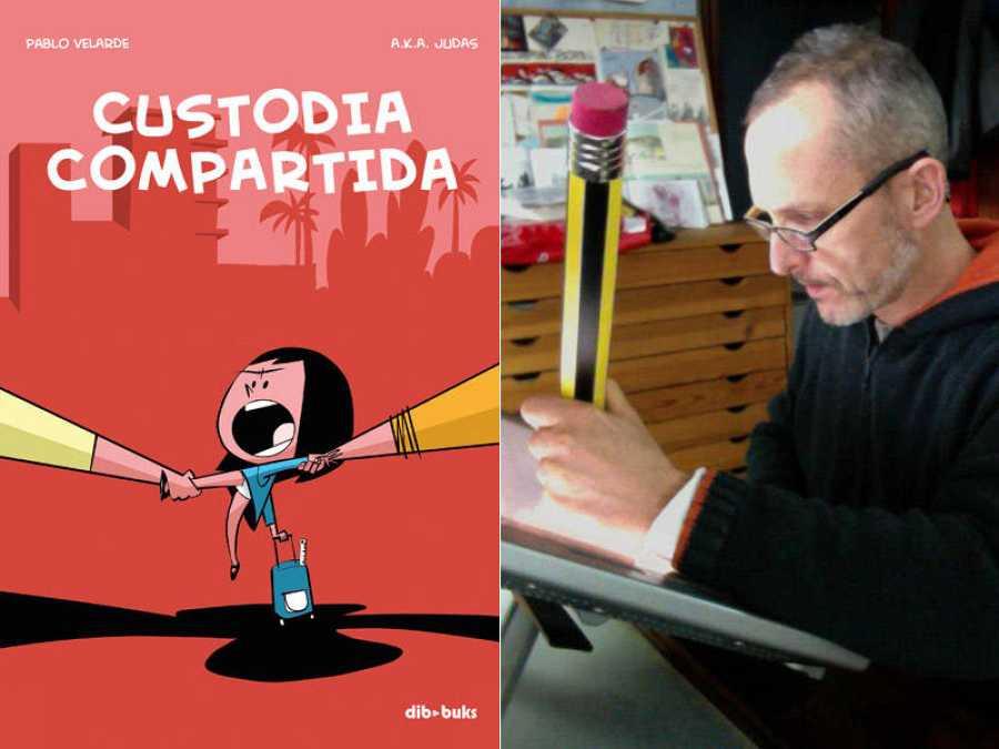Portada de 'Custodia compartida' y su autor, Pablo Velarde