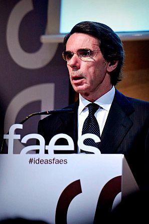 José María Aznar, en un acto de FAES
