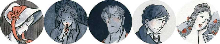 De izda. a dcha. Mary Shelley, Percy Bhysse Shelley, Lord Byron, J.W. Polidori y Claire Clairmont