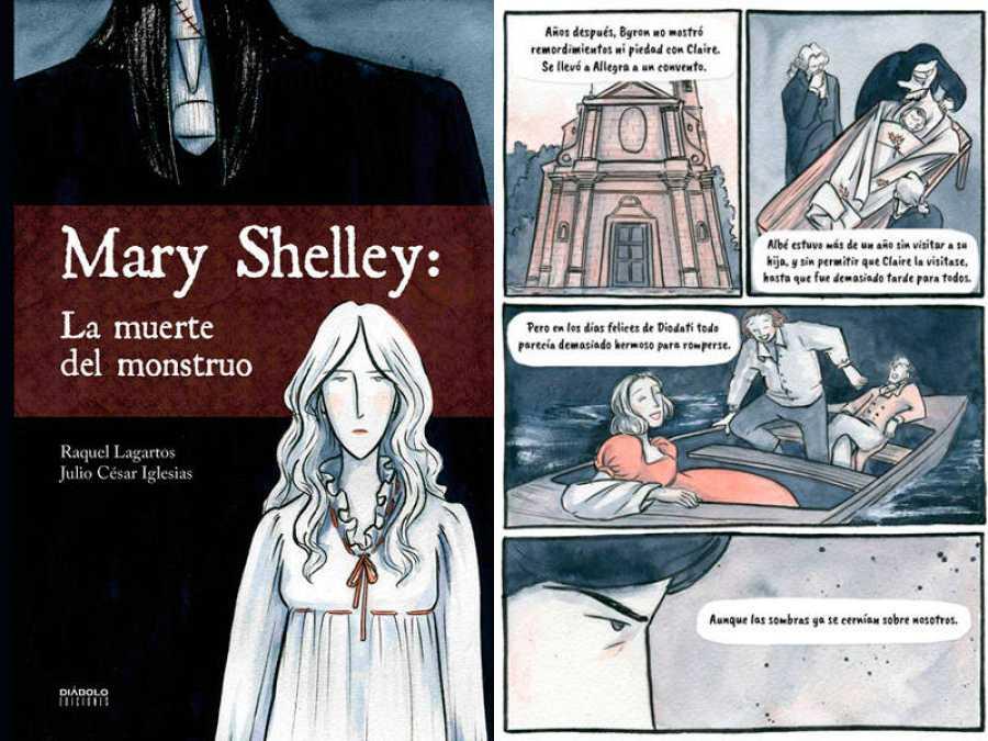 Portada y página de 'Mary Shelley: La muerte del monstruo'