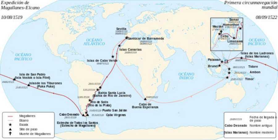 Ruta de la circunnavegacion de Magallanes y Elcano