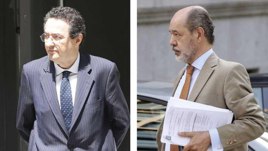 Mariano Herrera (i), director general de supervisión del Banco de España, y de su número dos, Pedro Comín (d)