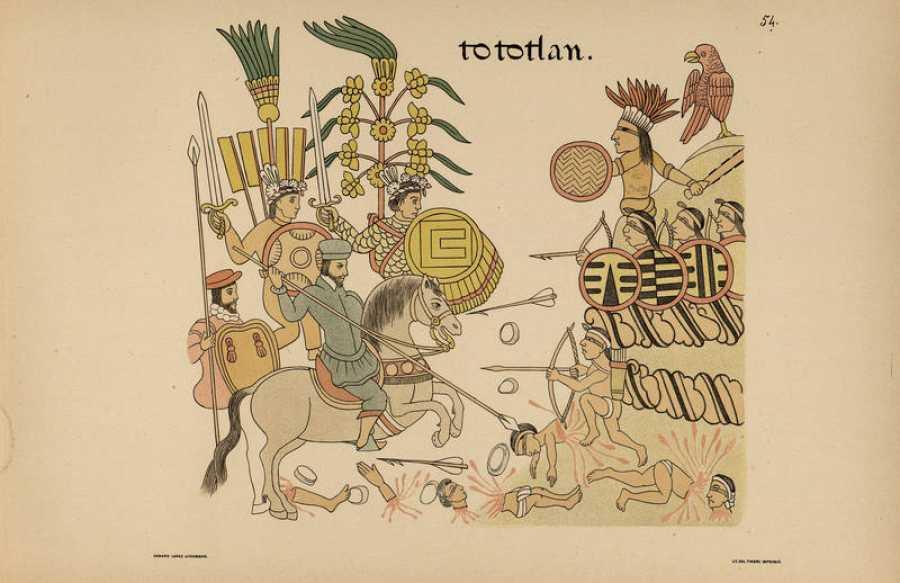 Lienzo de Tlaxcala. Un dibujo anterior a 1560 y representa hechos ocurridos en 1522 cuando Cristobal de Olid y los tlaxcaltecas derrotaron en la zona de Guadalajara (Jalisco) a los aztecas y sus aliados.